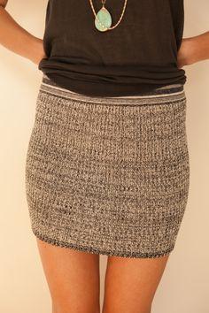 Goddis Knit Mini Skirt in Athens Blue