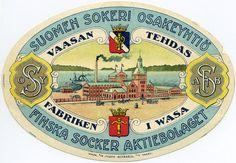 Vaasan tehdas, Suomen Sokeri Osakeyhtiö #Vaasa #etiketit #label Label, Tableware, Dinnerware, Tablewares, Place Settings, Porcelain Ceramics