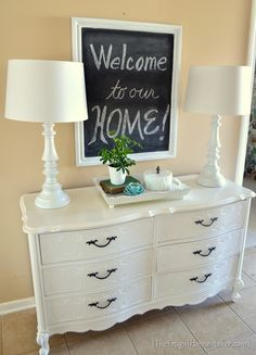 Painted dresser makeover - The Frugal Homemaker ~ I have this exact dresser from my childhood...