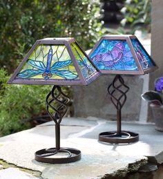 Tiffany Style Solar Outdoor Table Lamp | Solar Lighting