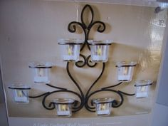"""Wall Sconce Candle Holder 8 Light Tealight Black Scrolled Iron New 12"""" High  #Hosley #DecorativeBlackIron"""