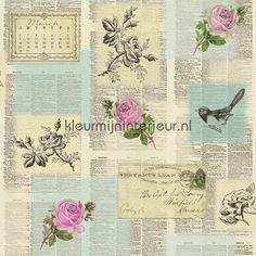 Papers en roses 885224 | behang Tiles and More 2016 van Rasch | kleurmijninterieur.nl