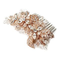 Rose Gold Rhinestone and Crystal Flower Hair Comb
