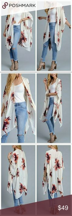 """☇SALE - Stunning Ivory Floral Kimono Price is firm on this item.   Ivory Garden Party Kimono. Super soft 100% viscose. 38""""x46"""". Dress up or down.   Multiple 5 Star Rated Item ⭐⭐⭐⭐⭐  Bundle & Save  Buy with confidence: ✔Top rated seller ✔Top 10% seller ✔Fast shipper Accessories Scarves & Wraps"""