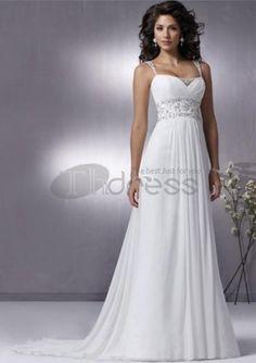 Sjarmerende A-Line/Princess Regelmessig stropper Chapel Train Chiffon Charmeuse brudekjole med krusning Beadwork