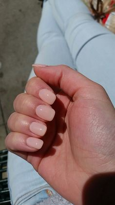 Cream pink acrylic squoval - #nails #long #longnails
