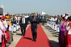 The President walks to Air Force One at Naypuitaw International Airport in Burma for departure en route to
