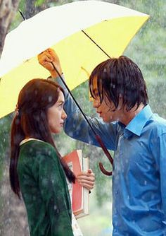 pinner's review about Love Rain ~ Watched this for Jang Geun Suk... why is he so adorable?  Such a cute couple.  Overall sweet drama.  Glad they didn't drag it out to 24 episodes.  The retro 70's stuff was really beautiful but I actually liked the drama better once they got to present day. I have a bone to pick with JGS stylist on the drama. Putting him in pink and floral trench coats is over the top and ridiculous. It makes Lee Min Ho's pink pants in City Hunter seem okay in comparison.