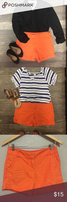 "Size 2 J Crew orange shorts. J Crew %100 cotton orange shorts. 5"" inseam. Fun color, so comfortable and in great condition. J. Crew Shorts"