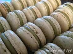 green tea ganache macarons