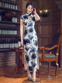 Gray Floral Ankle-length Qipao / Cheongsam Prom Dress with Split