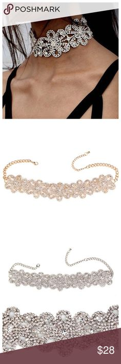 """Flower Rhinestone Choker Necklace Gold Silver Brilliant Rhinestones embellish this Flower Floral Choker Necklace available in Gold or Silver --- Floral section is 9""""x 1.75"""" --- Chain has extender that can be worn at 14"""" - 16.5"""" --- Lobster clasp chain can be worn smaller --- More Beautiful in person 🦋🦋🦋 Boutique Jewelry Necklaces"""