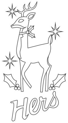 Stitch This Retro Style Christmas Deer Onto His Hers And Theirs Towels Downloads