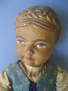Antique Swiss Hand Carved Jointed All Wood Doll Original Outfit Braid 10 "