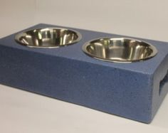 Beautiful Indigo handmade concrete dog bowl stand made from 98% recycled material primarily consisting of recycled glass and fly ash, a by product of burning coal. Tip roof, wind proof, spill proof and chew proof!