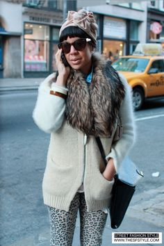 Street Fashion Style - fur collar, leopard print, head wrap - SoHo New York from www.thestyle.com