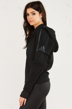 Side View of Adidas Zippered Hoodie With Thumb Holes in Black