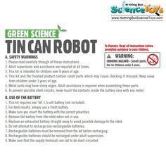 4M Kidz Labs Fun Mechanics Tin Can Robot Aluminum Soda Beverage Drink Recycle Educational Science Toy Kit Motor Gears Cams 3270 3653