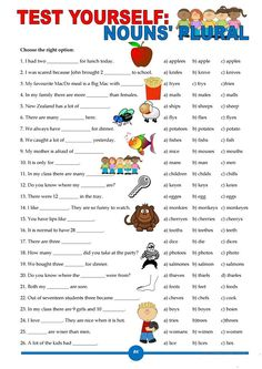 Test Yourself: Nouns' Plural - English ESL Worksheets for distance learning and physical classrooms English Grammar For Kids, Teaching English Grammar, English Grammar Worksheets, English Lessons For Kids, Grammar Lessons, French Lessons, Spanish Lessons, Teaching Spanish, Teaching Art