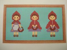 3 x Little Red Riding Hoods cross stitch by cupcakecutie1 on Etsy, $5.00