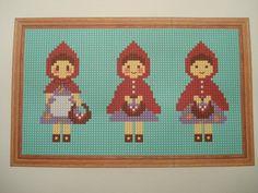 3 x Little Red Riding Hoods cross stitch, needlepoint, tapestry pattern. Fairytale PDF, instant digital download,epattern.