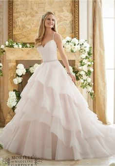 Wedding Dresses and Wedding Gowns by Morilee featuring Crystal Beaded Straps on a Billowy Tulle Ball Gown Available in Three Lengths: 55 , 58 , 61 . Colors Available: White, Ivory, Ivory/Blush