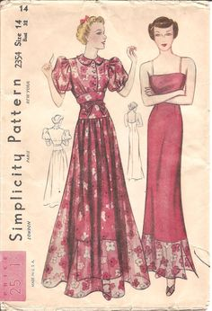 Womens Puff Sleeve Dress & Slip - Vintage Sewing Pattern Simplicity 2354 - 32 Bust FACTORY FOLDS Puff Sleeves Bow Detail Floor Length - - Womens Dinner Dress and Slip Pattern Simplicity 2354 by ErikawithaK, ♥♥♥♥♥! Vintage Dress Patterns, Clothing Patterns, Vintage Dresses, Vintage Outfits, 1930s Fashion, Vintage Fashion, Fashion News, Illustrations Vintage, Patron Vintage
