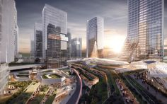 Image 2 of 15 from gallery of 10 DESIGN Wins Competition for Massive Urban Development in Zhuhai. Photograph by 10 Design Futuristic City, Futuristic Architecture, Concept Architecture, Architecture Design, Factory Architecture, Landscape Architecture, Zhuhai, Urban Design Concept, Win Competitions
