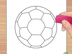 How to Draw a Soccer Ball. Soccer balls are fun to play with but can be unfamiliar to draw. The traditional soccer ball is made from two flat shapes, pentagons and hexagons. A pentagon, of course, is a five-sided polygon, while a hexagon. Volleyball Setter, Ball Drawing, Paper Drawing, Minion Birthday, Boy Birthday, Drawing Utensils, Softball, Flat Shapes, Vacation Bible School