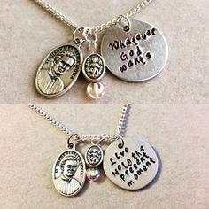 Saint saying necklaces for catholic kids