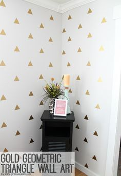 Gold Geometric Triangle Wall Art - DIY....switch the triangles for polka dots and it would be perfect