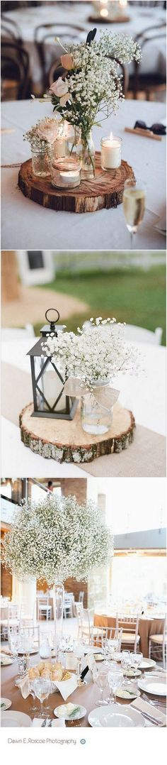 baby's breath themed wedding centerpieces