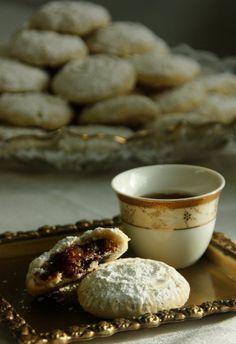 "My friend, Holly, taught me how to make these luscious date cookies called, ""ma'amoul"" ... so yummy. Too bad I could never get the coffee quite right ;)"