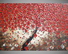 120 x 60 cm Baum Acrylbild auf Leinwand Art Deco Grosses Bild Baum Rote Blüten Landschaft 3D Strukturiert Braun Beige Creme art by ilonka
