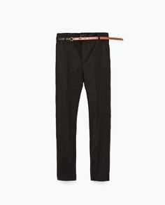 ZARA - WOMAN - DOUBLE FABRIC BELTED TROUSERS