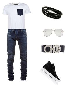"""Untitled #266"" by dollie-stoudemire-mccall on Polyvore featuring Common Projects, Yves Saint Laurent, Balmain, Porsche Design, Salvatore Ferragamo, men's fashion and menswear"