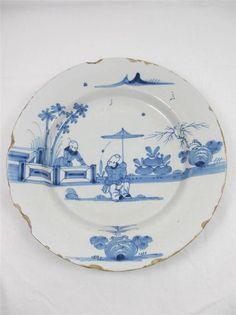 RARE 18TH CENTURY ENGLISH DELFT CHINOISERIE PLATE CIRCA 1740 POSSIBLY LIVERPOOL 2at £61 & £36