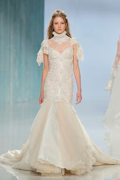 """Lace high collar paired with sweetheart wedding gown with dramatic flared sleeves and mermaid outline // At Barcelona Bridal Fashion Week, we fix our gazes on Galia Lahav's bohemian Gala No. IV line and dramatic Victorian Affinity 2018 collection. The standout pieces for us are """"Thelma"""", a homage to Queen Victoria's wedding gown with sheer drape silk tulle sleeves and """"Liliya"""", a fairytale"""