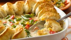 This hearty side-dish of veggies and biscuits are the perfect addition to your next gathering.
