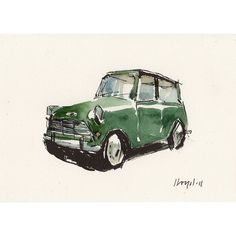 Art Print Car Painting Mini Cooper Retro Green Geekery Green Mini by... ❤ liked on Polyvore featuring home, home decor, wall art, green home accessories, ink painting, retro home accessories, car painting and green home decor