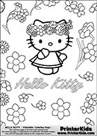 hello kitty coloring pages with flowers - Coloring Pages Kitty Summer