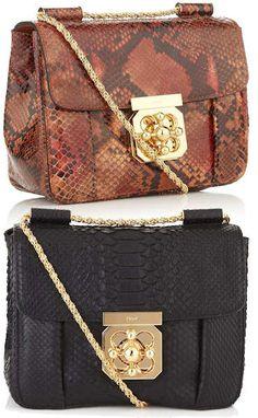chloe pink handbag - elsie mini bag in python