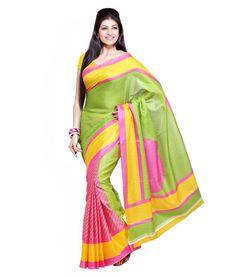 Green Liner Bhagalpuri Saree