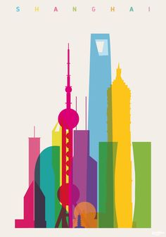 Shapes of Shanghai in scale Art Print