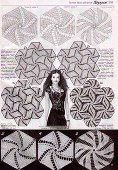 Photo from album otl polotna treug motivy on Yandex. Crochet Square Patterns, Crochet Stitches Patterns, Crochet Squares, Crochet Motif, Crochet Lace, Russian Crochet, Irish Crochet, Lingerie Patterns, Crochet Dollies