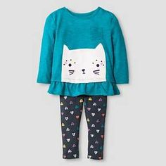 Kitty Top and Bottom Legging Set by Baby Cat & Jack
