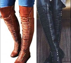 Womens Ladies Boots Thigh High Over Knee Stiletto Heel Lace Up Shoes Plus Size Ankle Boots Outfit Winter, Brown Boots Outfit, Winter Boots Outfits, High Heel Boots, Knee Boots, Heeled Boots, Calf Boots, Women's Boots, Plus Size Boots