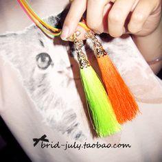 neon colors tassel long necklace-ZZKKO