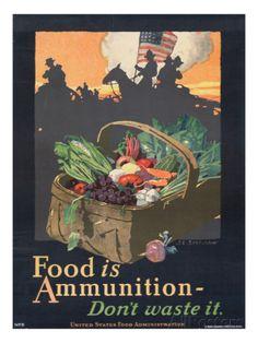 """Food is Ammunition--Don't Waste It"", 1918 Gicléedruk van John Sheridan bij AllPosters.nl"