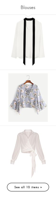 """Blouses"" by jujubetica-1 ❤ liked on Polyvore featuring tops, blouses, white blouses, silk neck ties, white necktie, silk tie neck blouse, white tie neck blouse, blue, floral print blouse and floral blouses"